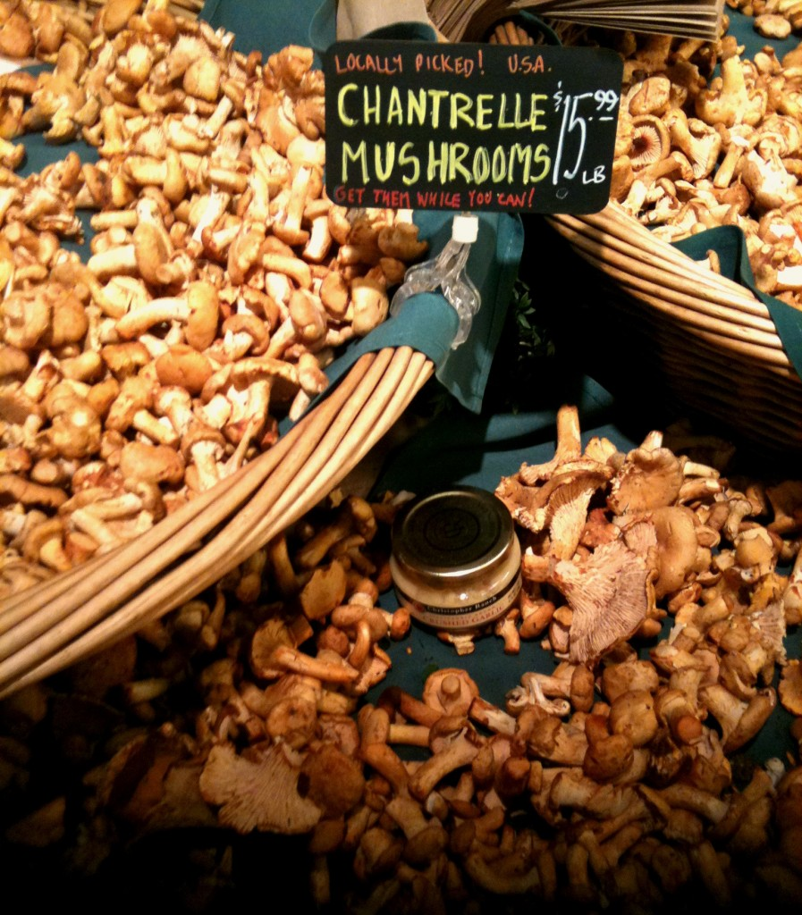 Locally foraged chantrelles sold at a local market in Olympia, WA.