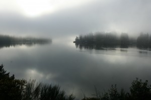 Early morning fog over Hammersley Inlet.