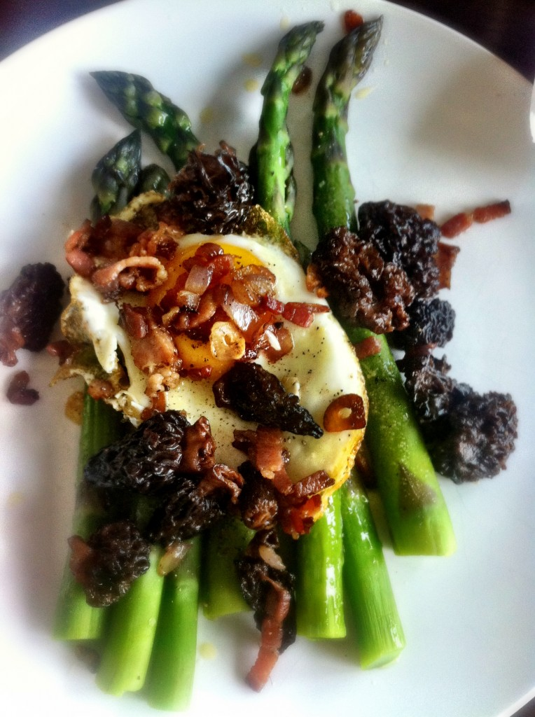 Asparagus from the Farmers Market, served with local morels and poached egg.