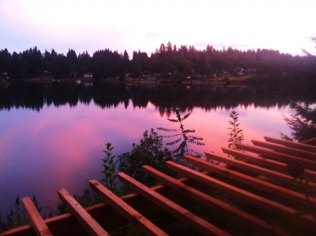 Sunset on Hammersley Inlet from Deck of Agate Beach House